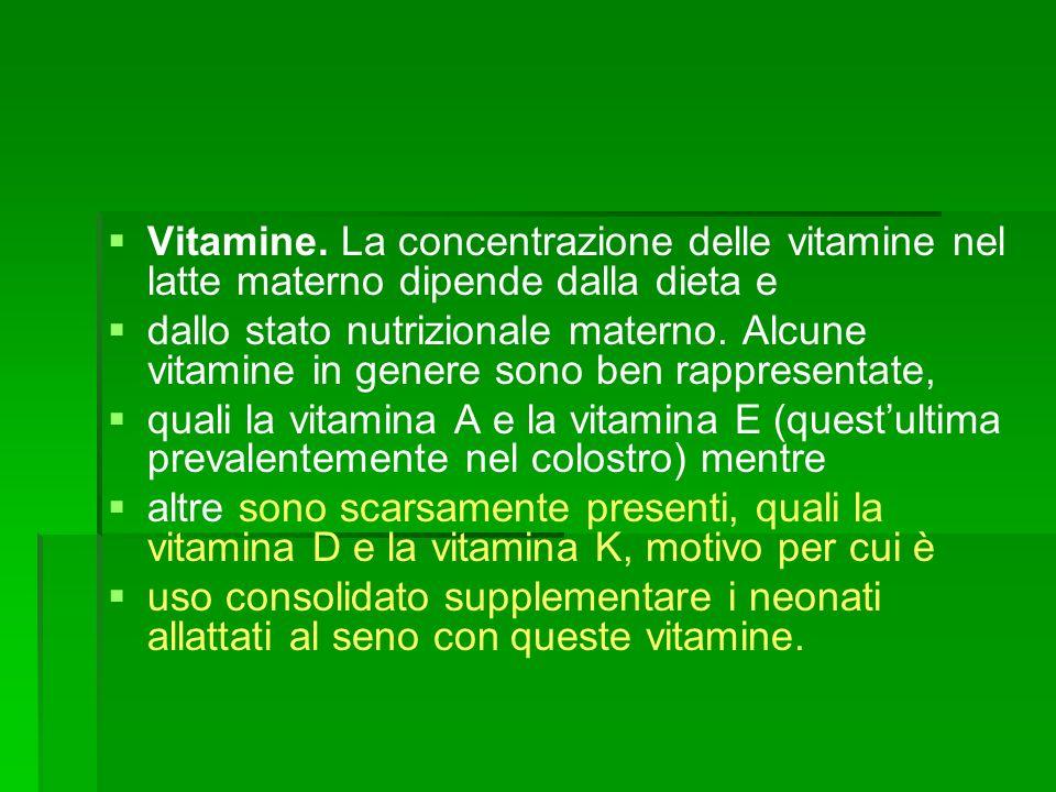 Vitamine. La concentrazione delle vitamine nel latte materno dipende dalla dieta e