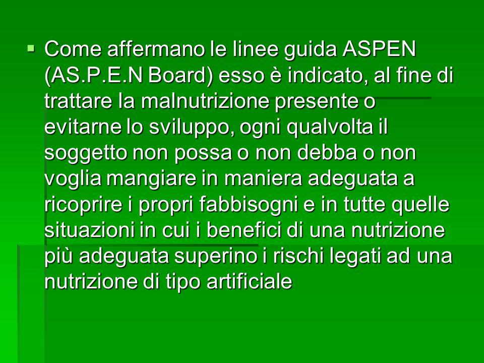 Come affermano le linee guida ASPEN (AS. P. E