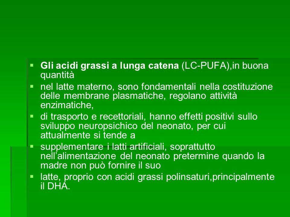 Gli acidi grassi a lunga catena (LC-PUFA),in buona quantità