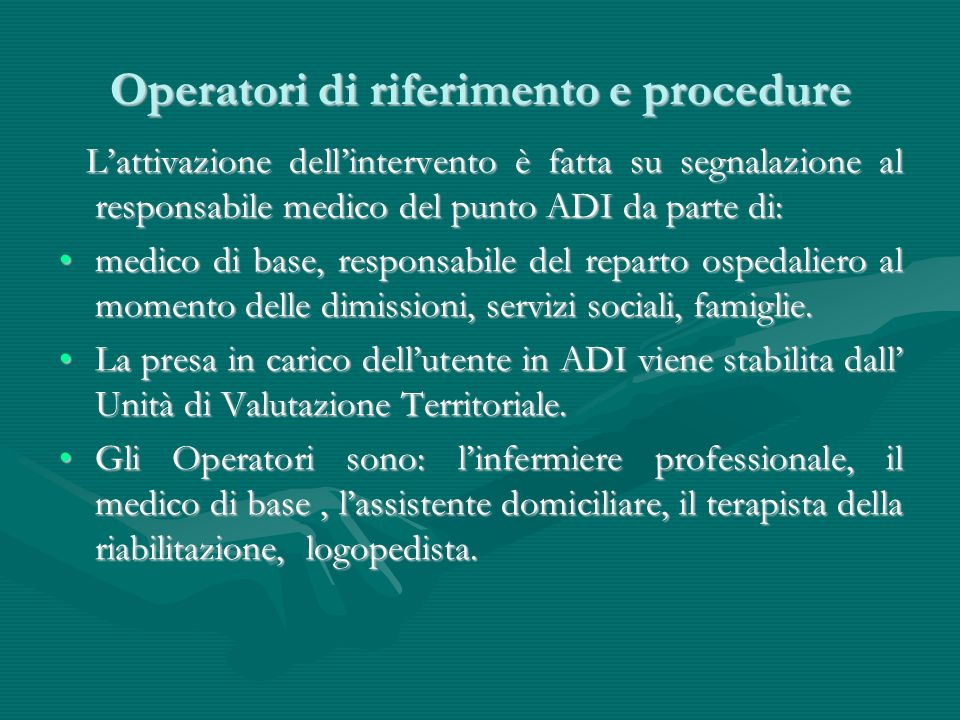 Operatori di riferimento e procedure