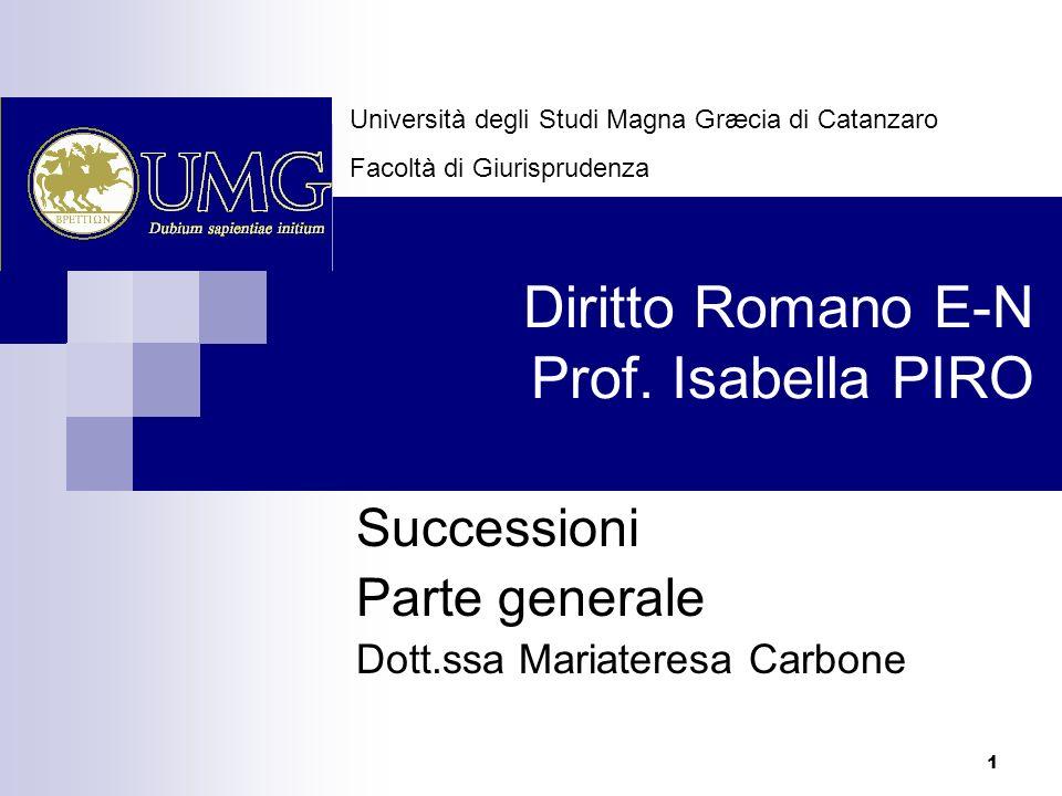 Diritto Romano E-N Prof. Isabella PIRO