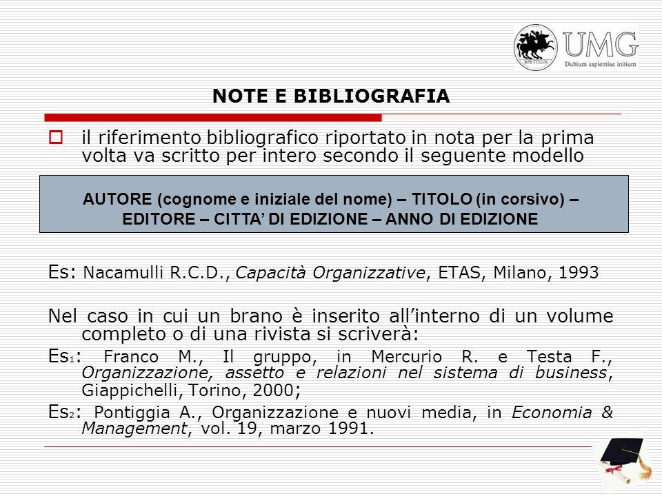 Es: Nacamulli R.C.D., Capacità Organizzative, ETAS, Milano, 1993