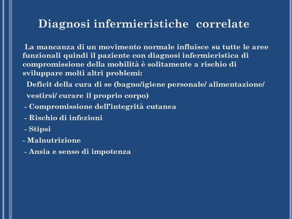 Diagnosi infermieristiche correlate