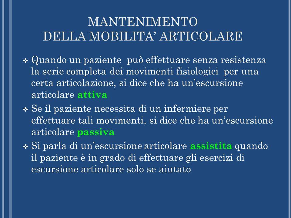 MANTENIMENTO DELLA MOBILITA' ARTICOLARE