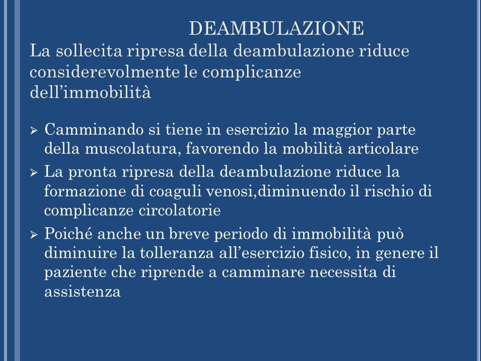 DEAMBULAZIONE La sollecita ripresa della deambulazione riduce considerevolmente le complicanze dell'immobilità.