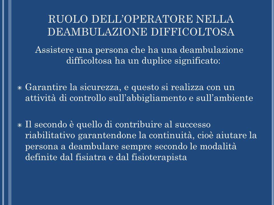 RUOLO DELL'OPERATORE NELLA DEAMBULAZIONE DIFFICOLTOSA