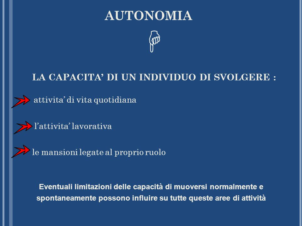 AUTONOMIA LA CAPACITA' DI UN INDIVIDUO DI SVOLGERE : attivita' di vita quotidiana l'attivita' lavorativa le mansioni legate al proprio ruolo.