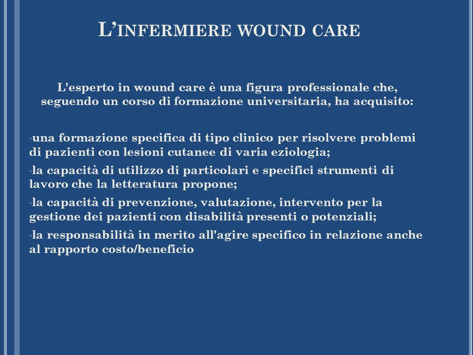 L'infermiere wound care
