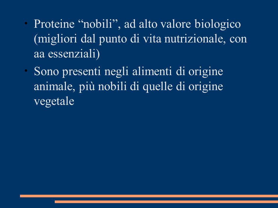 Proteine nobili , ad alto valore biologico (migliori dal punto di vita nutrizionale, con aa essenziali)