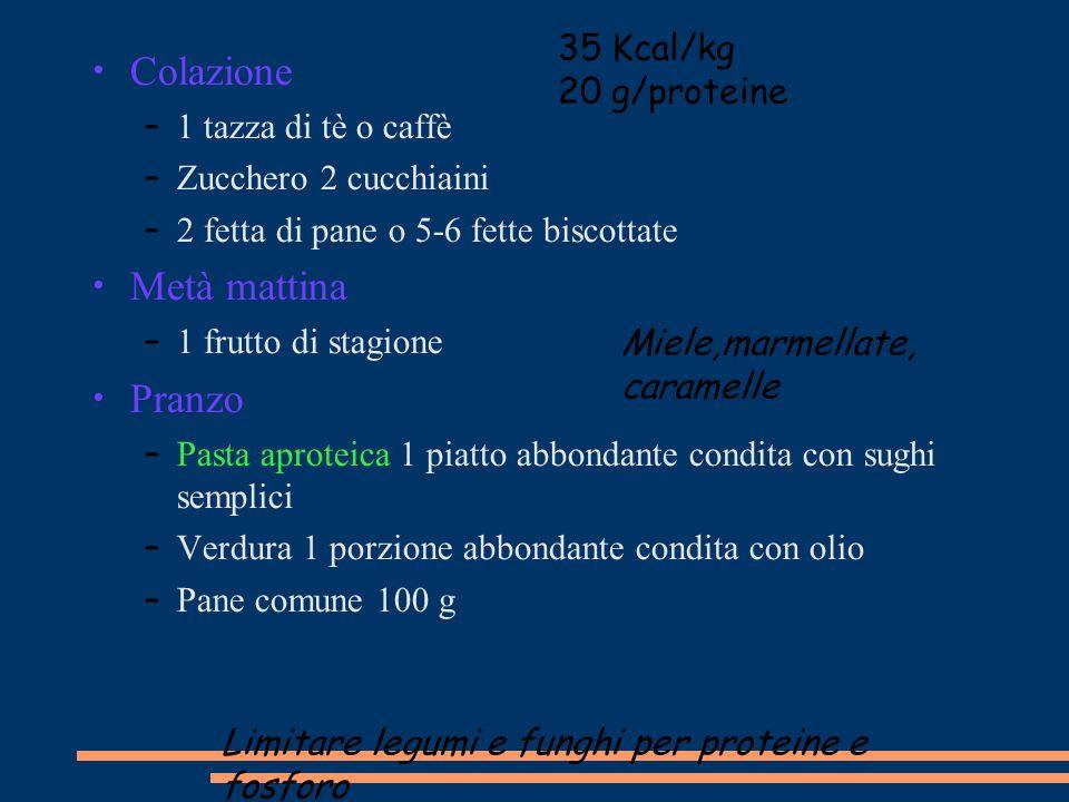 Colazione Metà mattina Pranzo 35 Kcal/kg 20 g/proteine