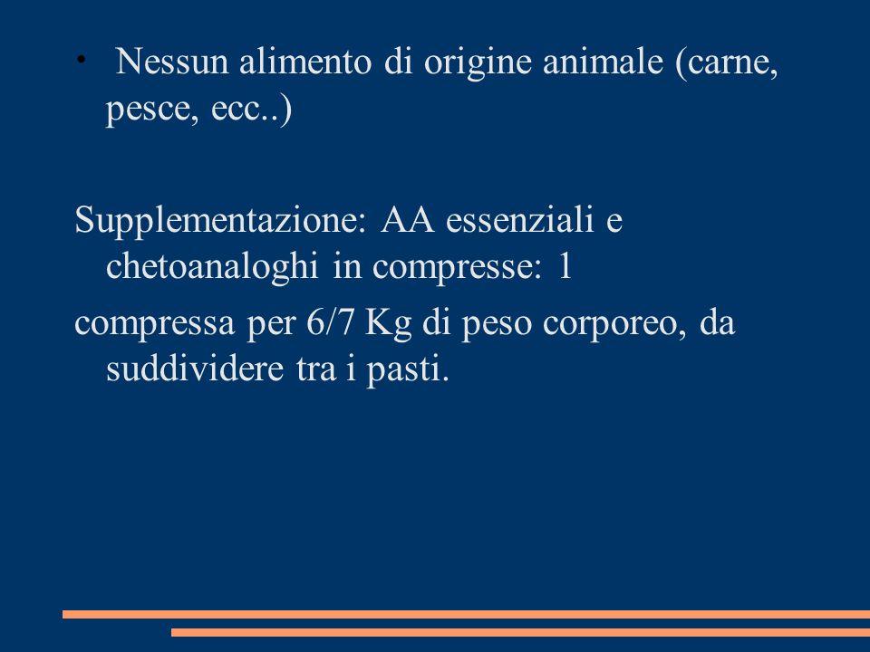 Nessun alimento di origine animale (carne, pesce, ecc..)