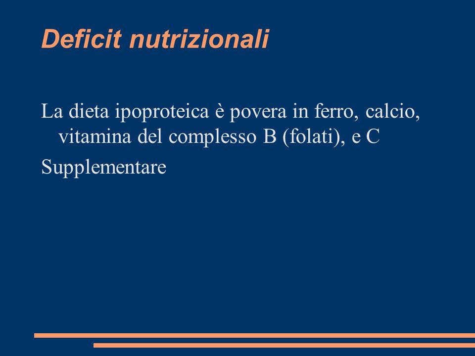 Deficit nutrizionali La dieta ipoproteica è povera in ferro, calcio, vitamina del complesso B (folati), e C.