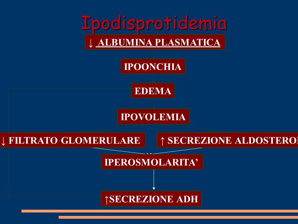 Ipodisprotidemia IPEROSMOLARITA' ↓ ALBUMINA PLASMATICA IPOONCHIA