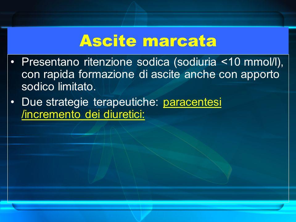 Ascite marcata Presentano ritenzione sodica (sodiuria <10 mmol/l), con rapida formazione di ascite anche con apporto sodico limitato.