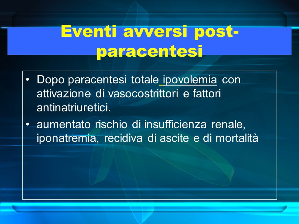 Eventi avversi post- paracentesi