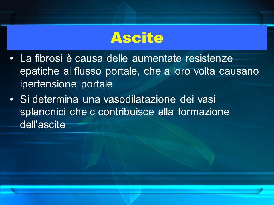 Ascite La fibrosi è causa delle aumentate resistenze epatiche al flusso portale, che a loro volta causano ipertensione portale.