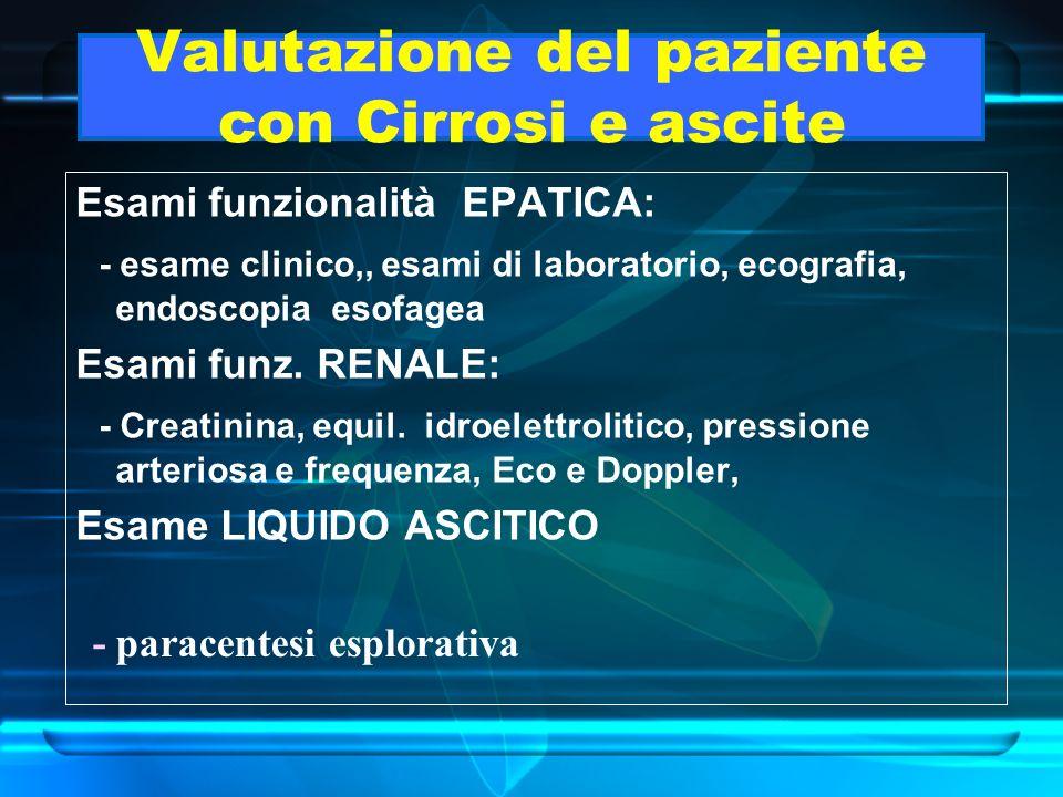 Valutazione del paziente con Cirrosi e ascite