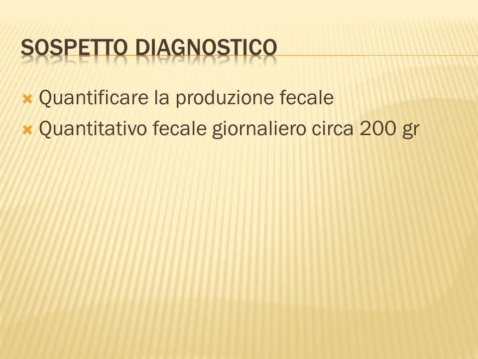 Sospetto diagnostico Quantificare la produzione fecale