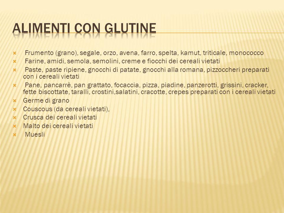 Alimenti con Glutine Frumento (grano), segale, orzo, avena, farro, spelta, kamut, triticale, monococco.
