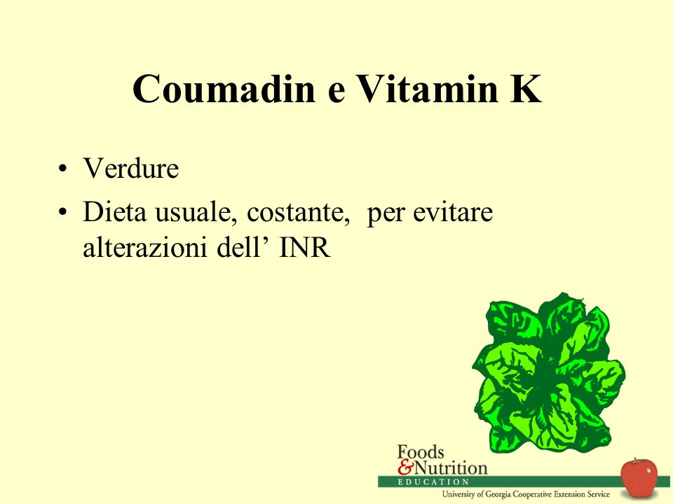 Coumadin e Vitamin K Verdure