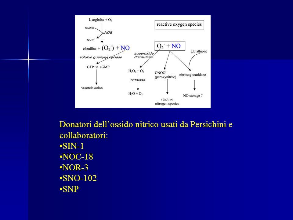 Donatori dell'ossido nitrico usati da Persichini e collaboratori: