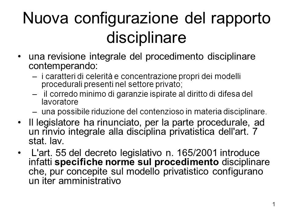 Nuova configurazione del rapporto disciplinare
