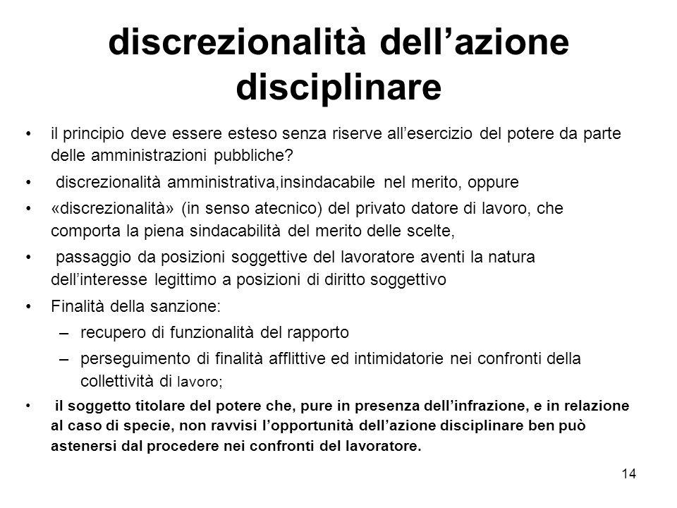 discrezionalità dell'azione disciplinare