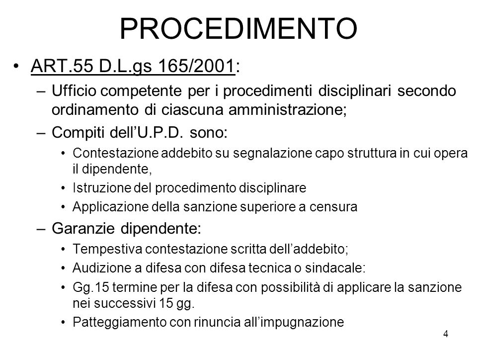 PROCEDIMENTO ART.55 D.L.gs 165/2001:
