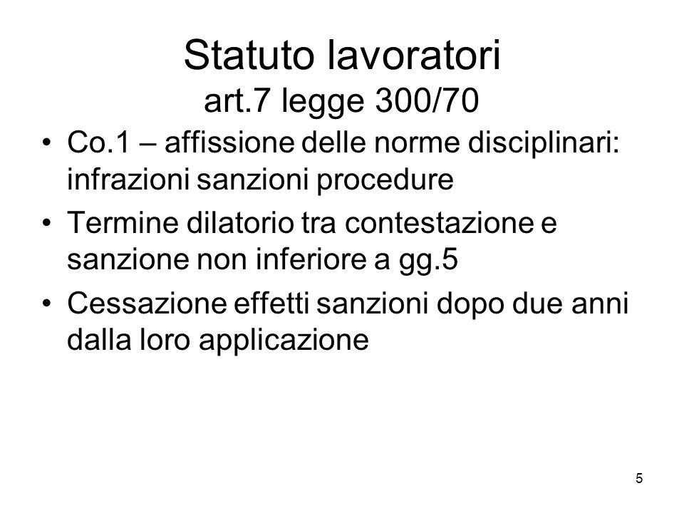 Statuto lavoratori art.7 legge 300/70