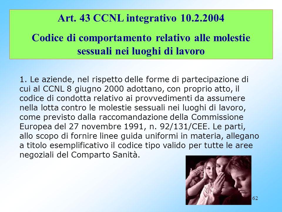 Art. 43 CCNL integrativo 10.2.2004 Codice di comportamento relativo alle molestie sessuali nei luoghi di lavoro.