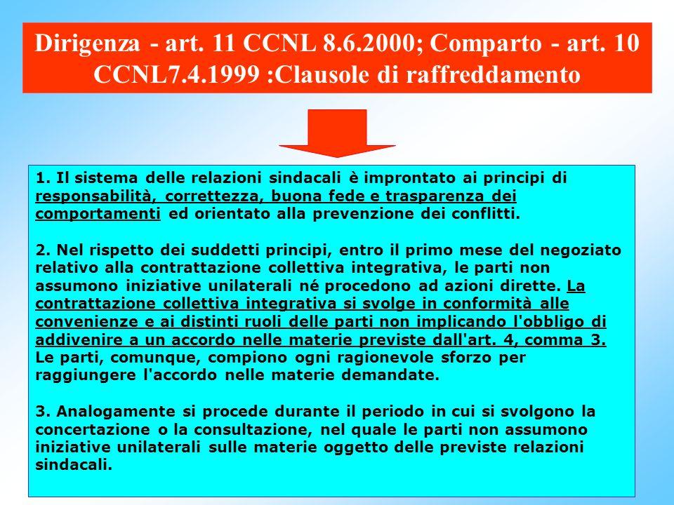 Dirigenza - art. 11 CCNL 8. 6. 2000; Comparto - art. 10 CCNL7. 4