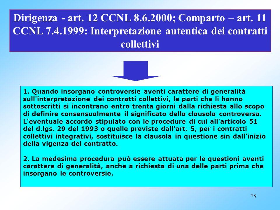 Dirigenza - art. 12 CCNL 8. 6. 2000; Comparto – art. 11 CCNL 7. 4