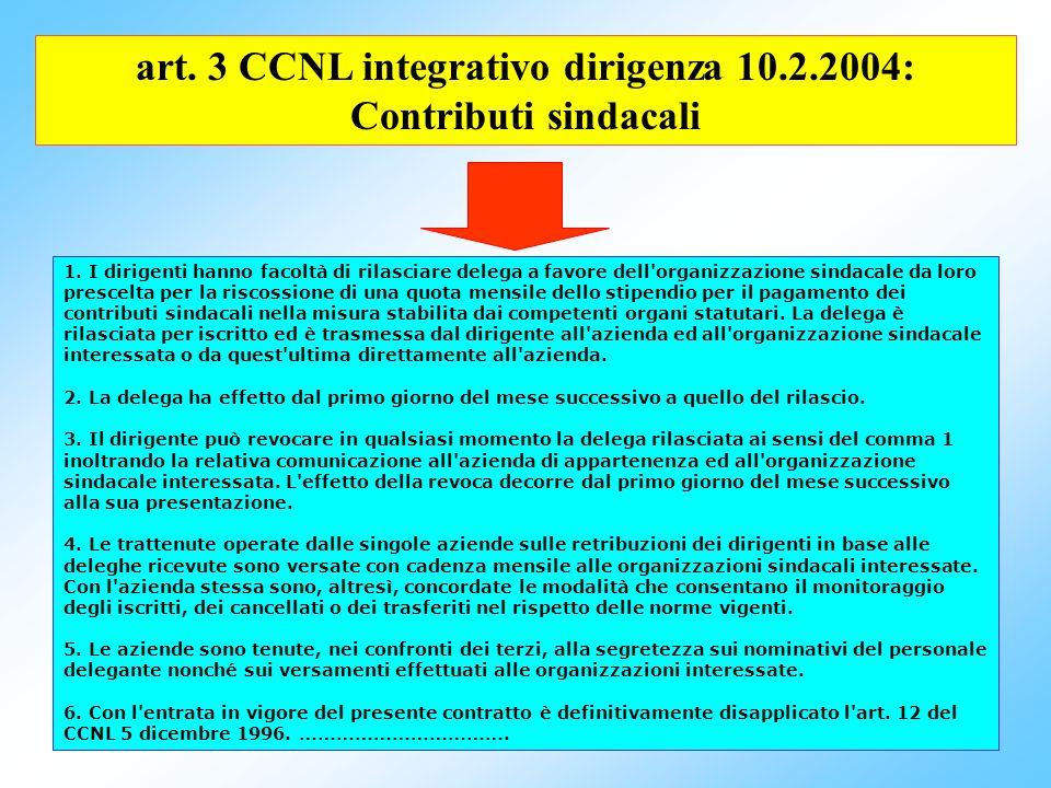 art. 3 CCNL integrativo dirigenza 10.2.2004: Contributi sindacali
