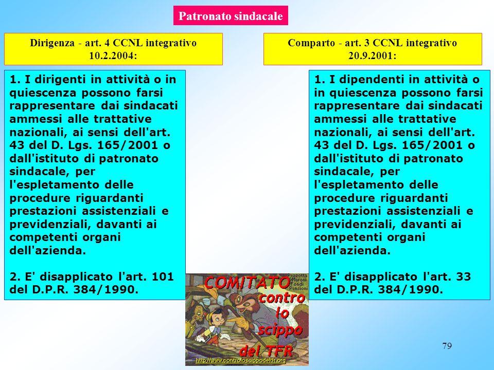 Patronato sindacale Dirigenza - art. 4 CCNL integrativo 10.2.2004: