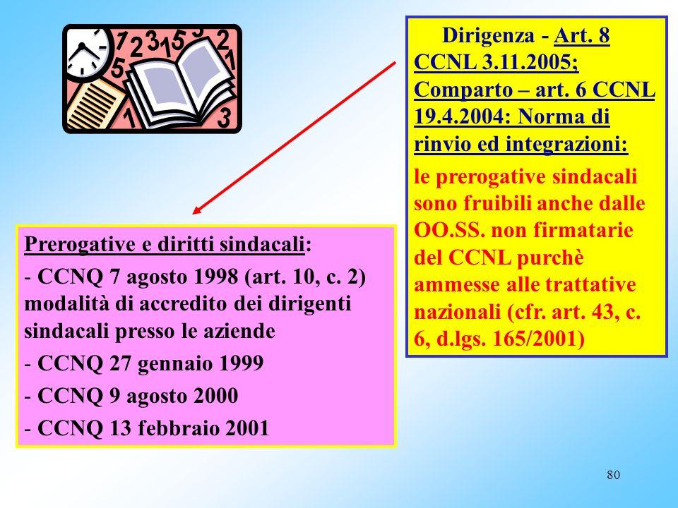 Dirigenza - Art. 8 CCNL 3. 11. 2005; Comparto – art. 6 CCNL 19. 4