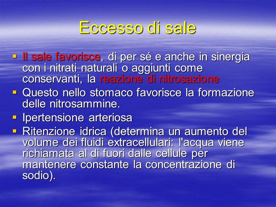 Eccesso di sale Il sale favorisce, di per sé e anche in sinergia con i nitrati naturali o aggiunti come conservanti, la reazione di nitrosazione.