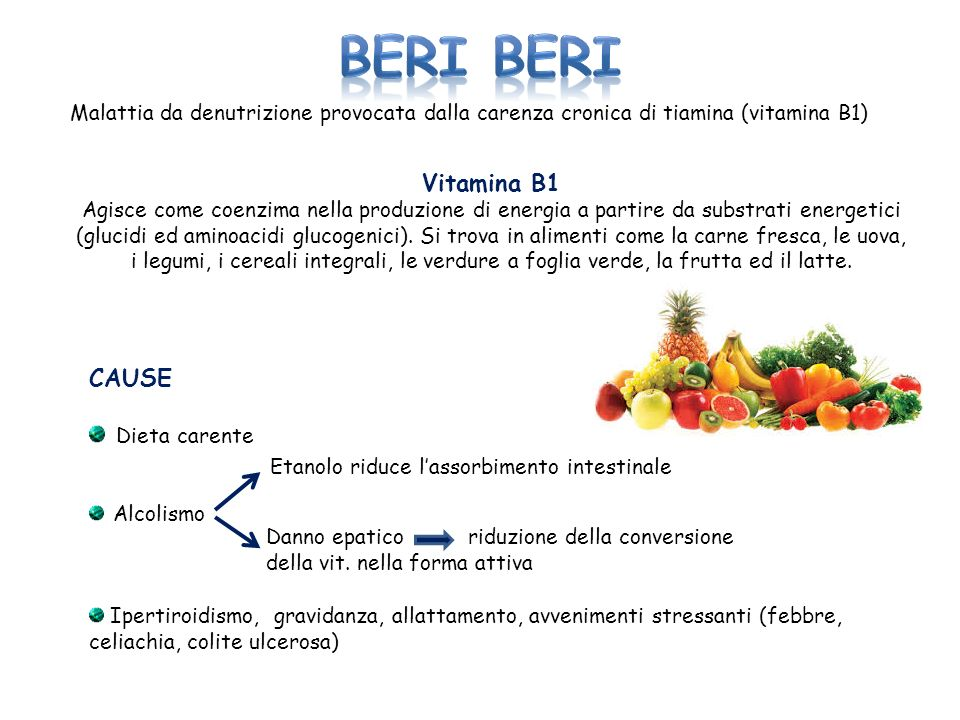 BERI BERI Vitamina B1 CAUSE Dieta carente