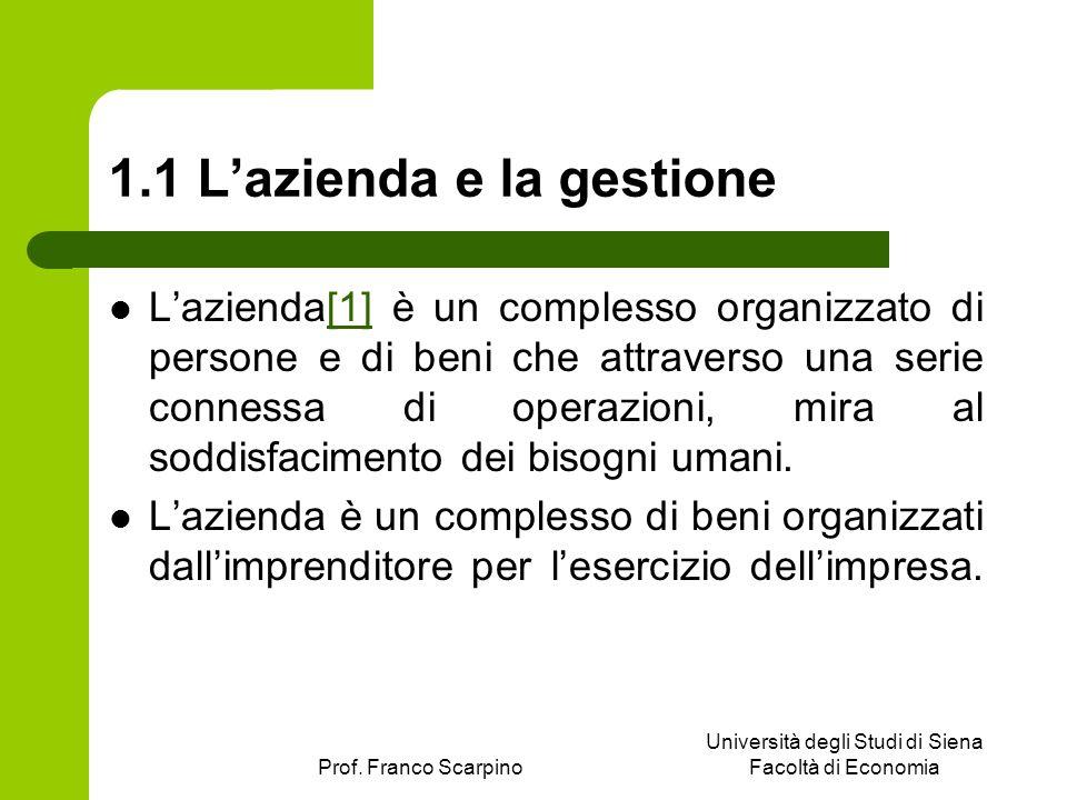 1.1 L'azienda e la gestione