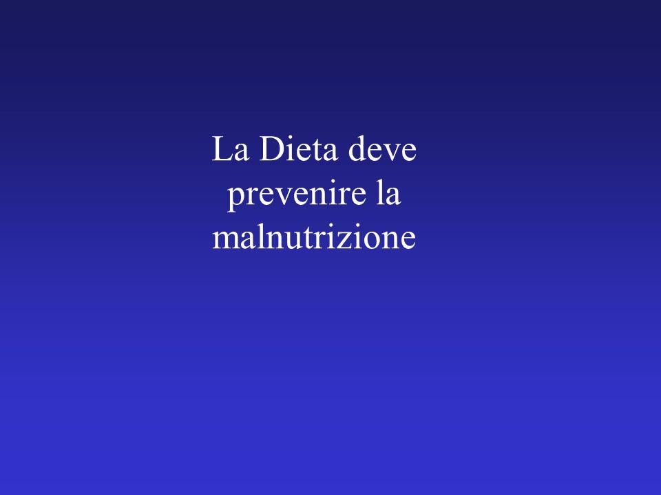 La Dieta deve prevenire la malnutrizione
