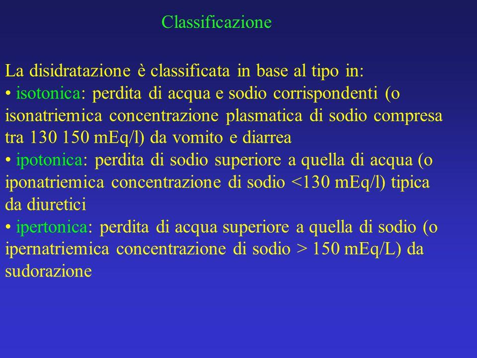 Classificazione La disidratazione è classificata in base al tipo in: