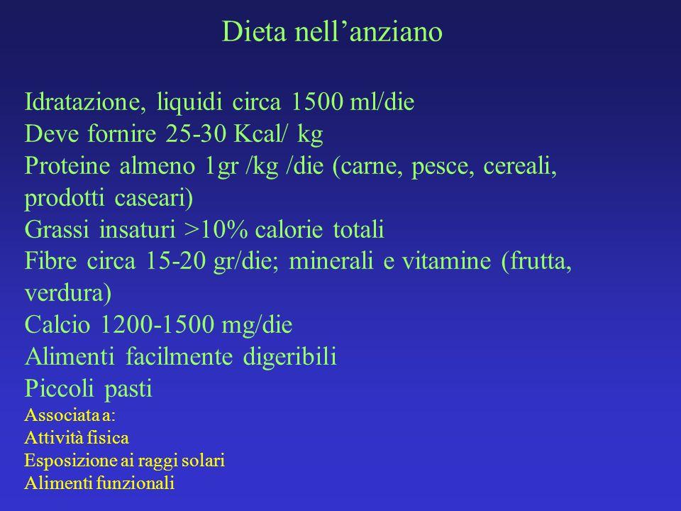 Dieta nell'anziano Idratazione, liquidi circa 1500 ml/die