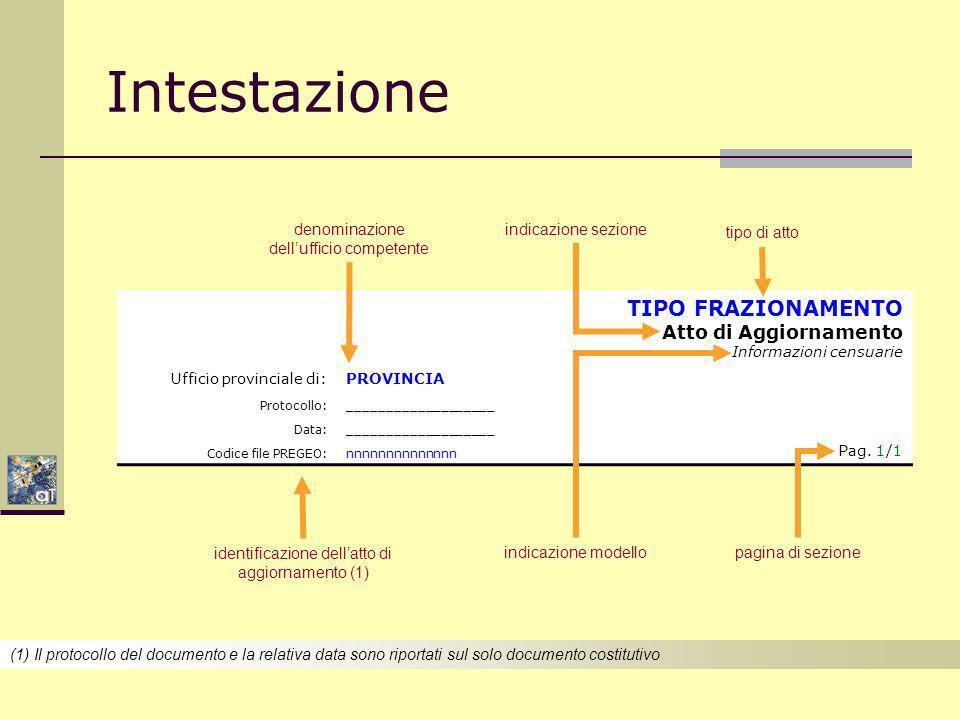 Intestazione TIPO FRAZIONAMENTO Atto di Aggiornamento