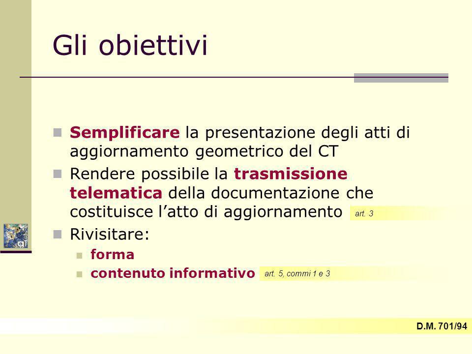 Gli obiettivi Semplificare la presentazione degli atti di aggiornamento geometrico del CT.