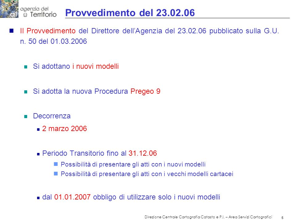 Provvedimento del 23.02.06 Il Provvedimento del Direttore dell'Agenzia del 23.02.06 pubblicato sulla G.U. n. 50 del 01.03.2006.