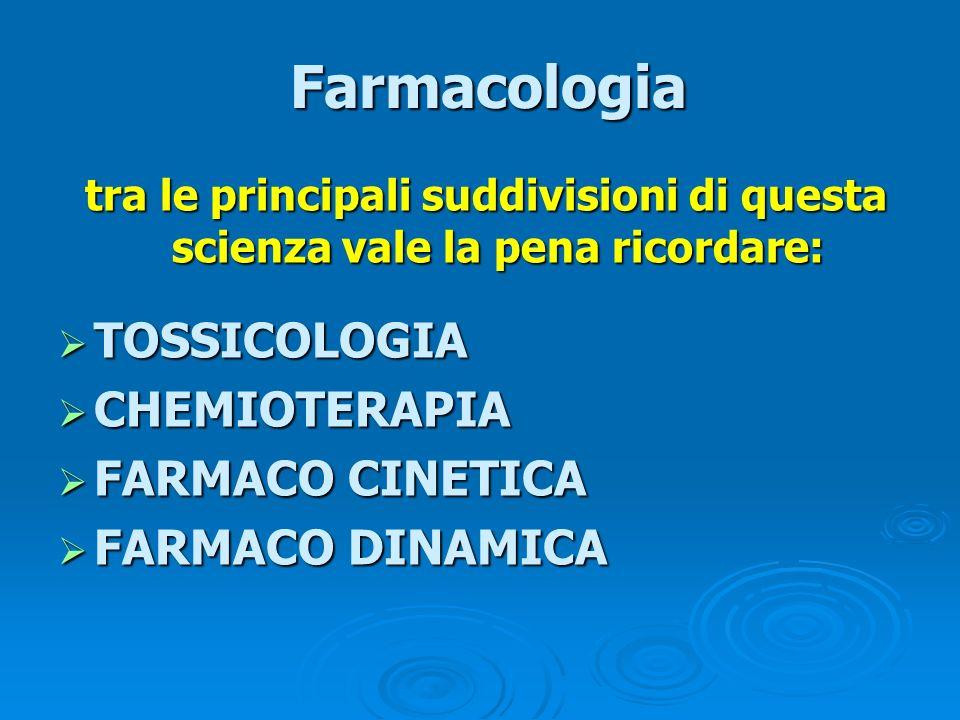 Farmacologia TOSSICOLOGIA CHEMIOTERAPIA FARMACO CINETICA