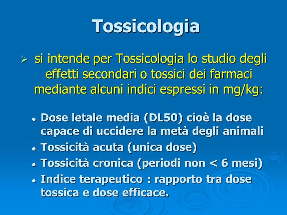 Tossicologia si intende per Tossicologia lo studio degli effetti secondari o tossici dei farmaci mediante alcuni indici espressi in mg/kg: