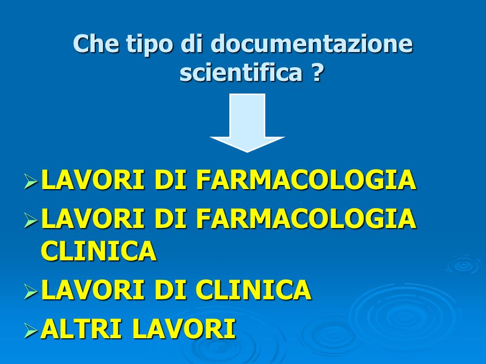 Che tipo di documentazione scientifica