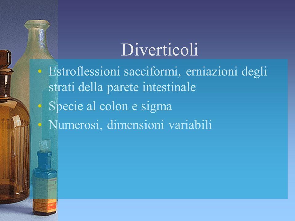 Diverticoli Estroflessioni sacciformi, erniazioni degli strati della parete intestinale. Specie al colon e sigma.