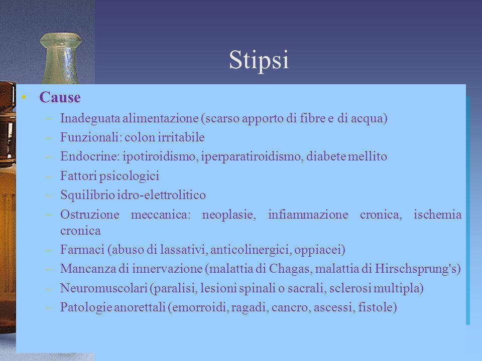 Stipsi Cause. Inadeguata alimentazione (scarso apporto di fibre e di acqua) Funzionali: colon irritabile.