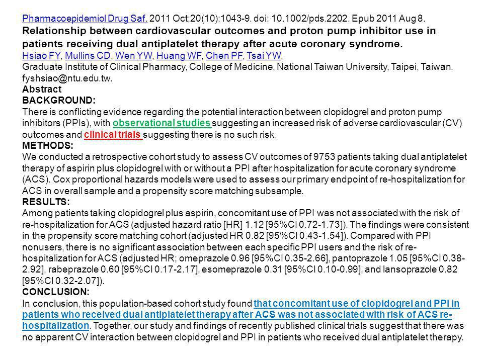 Pharmacoepidemiol Drug Saf Oct;20(10): doi: /pds